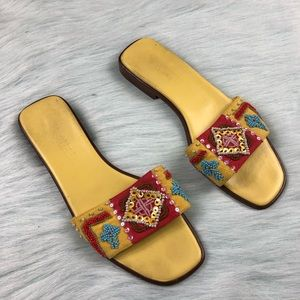 Vaneli Vero Cuoio Aztec Beaded Sequin Sandals 8 M